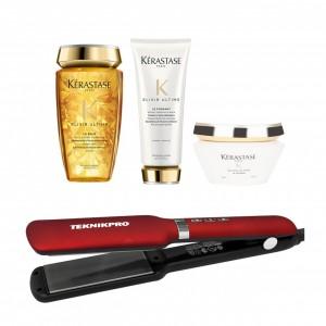 Combo Plancha + Shampoo Acondicionador y Tratamiento Kerastase Elixir Ultimate